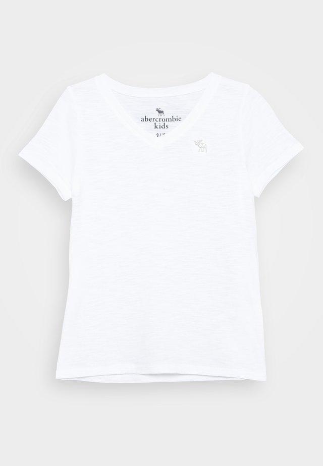 SLIM V NECK TEE - T-shirt print - white