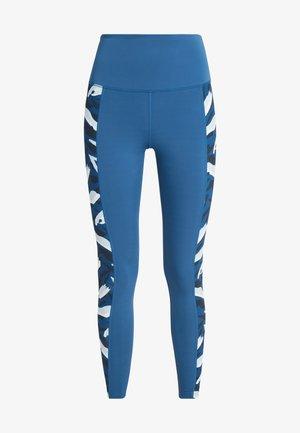 HIGH WAIST ABSTRACT PRINT PANEL - Leggings - blue