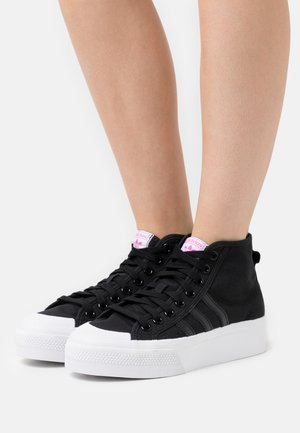 NIZZA PLATFORM MID - High-top trainers - core black/footwear white/shock pink