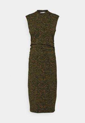 ABSTRACT SWIRL SHEER STRETCH DRESS - Maxi dress - military/black