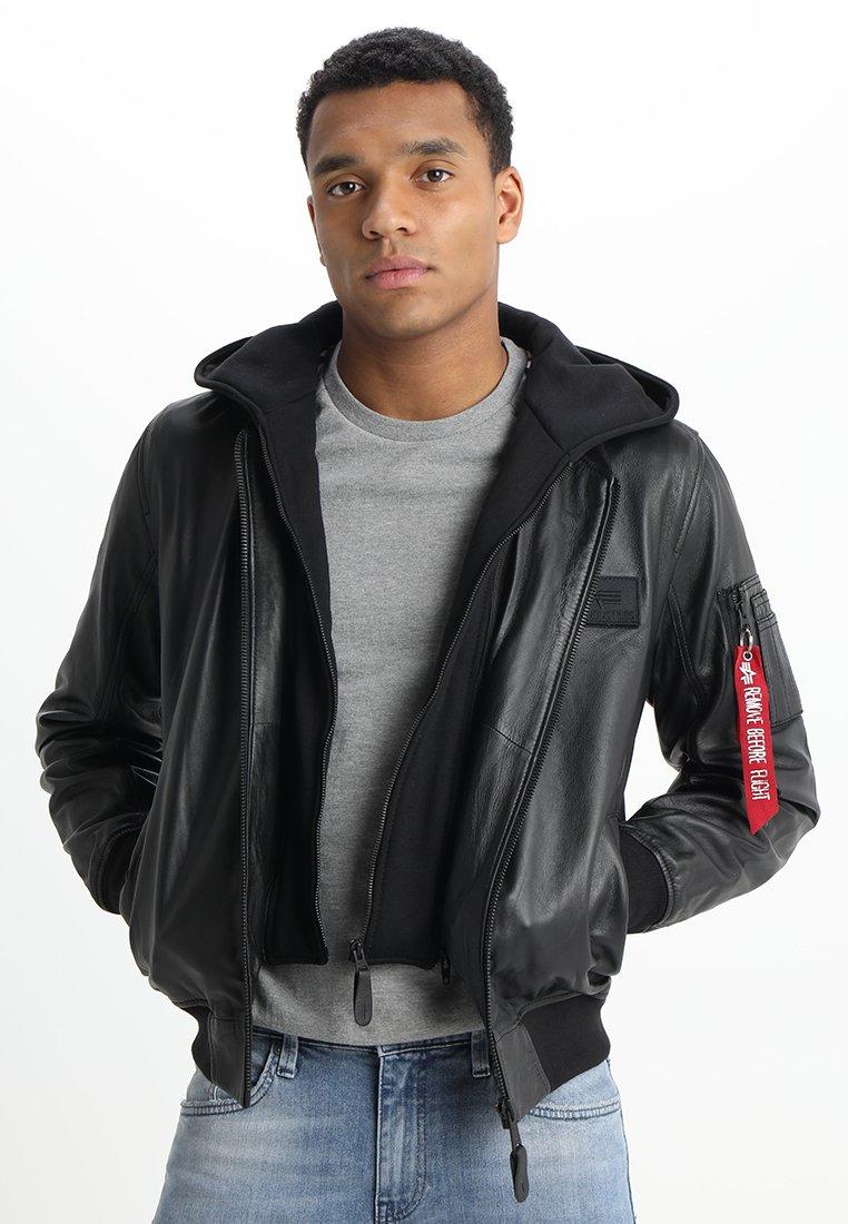 Alpha Industries - Leather jacket - black