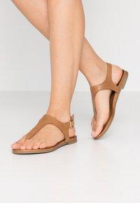 Anna Field - LEATHER - T-bar sandals - cognac - 0