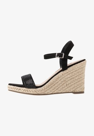 RAA-RAA EMBELLISHED VAMP WEDGE - Sandály na vysokém podpatku - black
