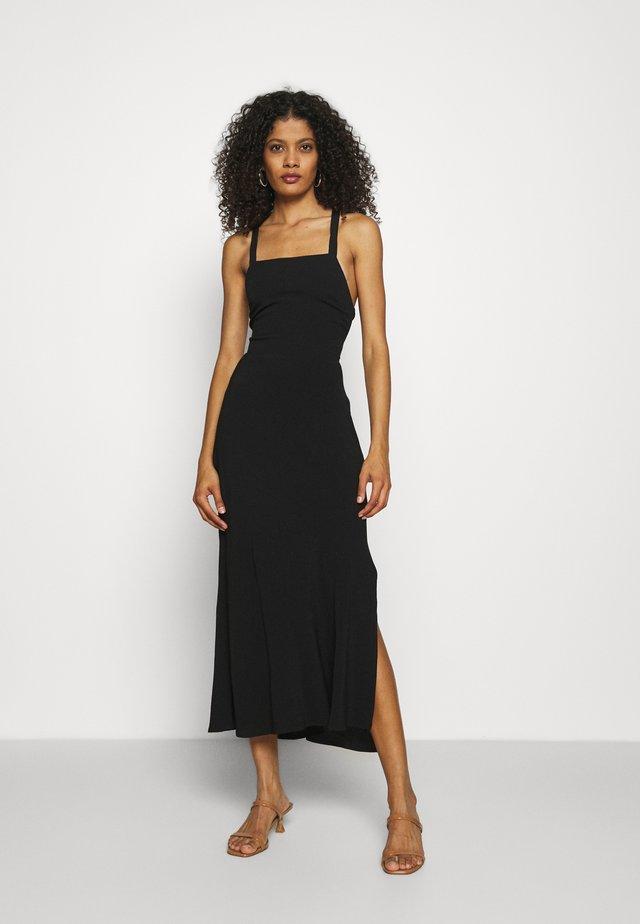 BOUQUET LACE BACK SLIP - Korte jurk - black