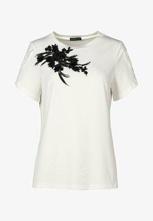 Print T-shirt - creme-schwarz