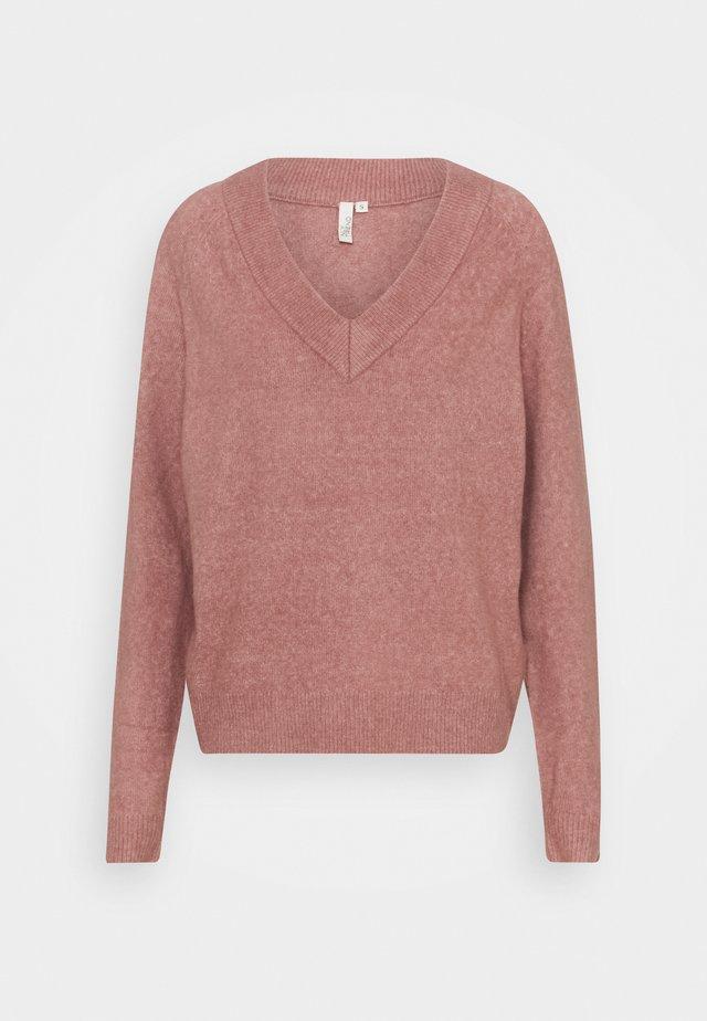 EASY VNECK SWEATER - Sweter - mauve