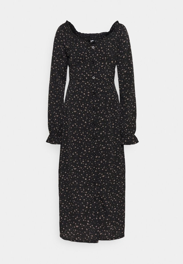 MILKMAID DRESS DITSY - Maxikjole - black