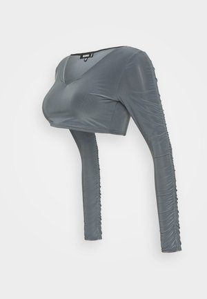 RUCHED SLEEVE SLINKY CROP - Top sdlouhým rukávem - grey