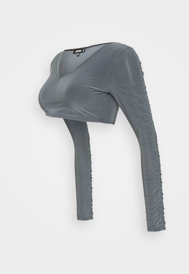 RUCHED SLEEVE SLINKY CROP - Maglietta a manica lunga - grey