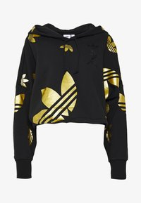 adidas Originals - ADICOLOR LARGE LOGO CROPPED HODDIE SWEAT - Sweat à capuche - black/gold - 3