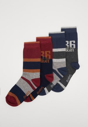 KIDSSOCKS NUMBER/STRIPES 4 PACK - Socks - curry/silber melange