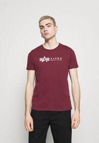 Alpha Industries - ALPHA LABEL 2 PACK - Print T-shirt - olive/burgundy - 3