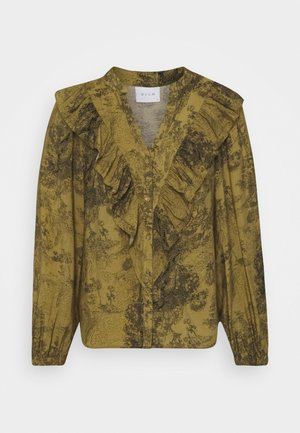 VIOMIA FRILL SHIRT - Button-down blouse - butternut/black