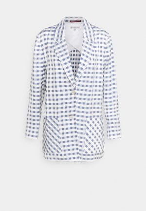 FLUID GINGHAM LONG - Short coat - yale navy
