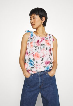 BLURRED FLORAL BOW SHOULDER SLEEVELESS - Pusero - blush