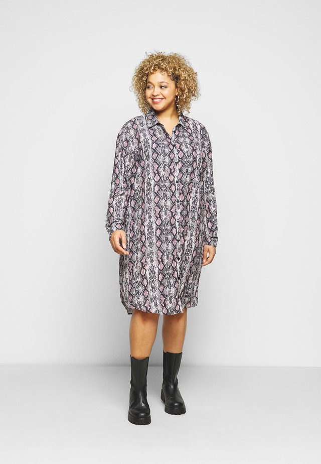 CHAIN PRINT SHIRT DRESS - Košilové šaty - brown pattern
