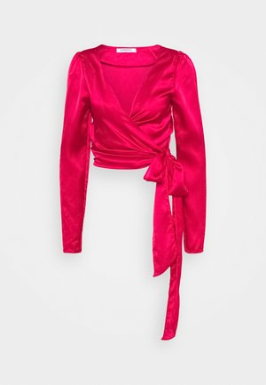 DRAPE WRAP WITH LONG SLEEVES PLUNGING NECKLINE - Blůza - red