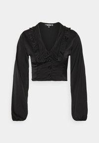 EXAGGERATED COLLAR BUTTON THROUGH BLOUSE - Long sleeved top - black
