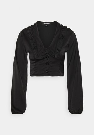 EXAGGERATED COLLAR BUTTON THROUGH BLOUSE - Top sdlouhým rukávem - black
