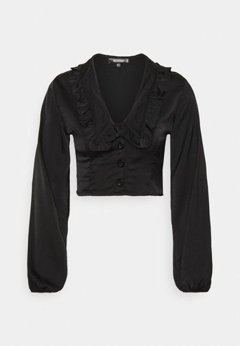 EXAGGERATED COLLAR BUTTON THROUGH BLOUSE - T-shirt à manches longues - black