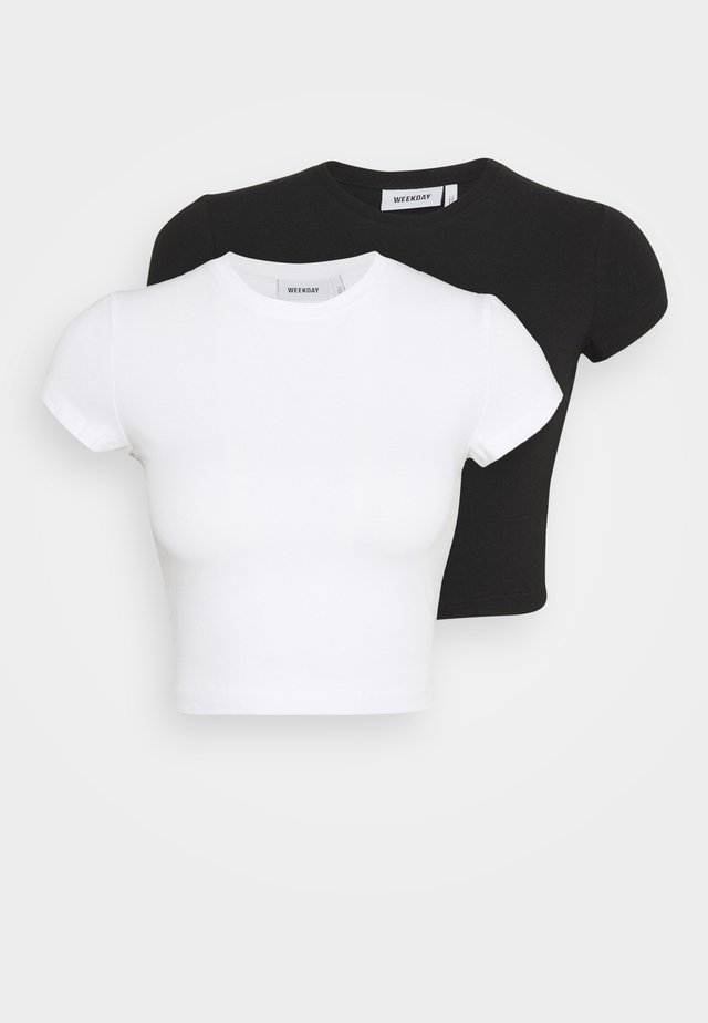SABRA  2 PACK - Camiseta básica - black/white