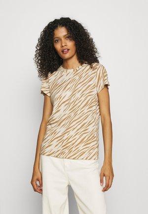 COZY SLUB CREW - Print T-shirt - beige/light brown