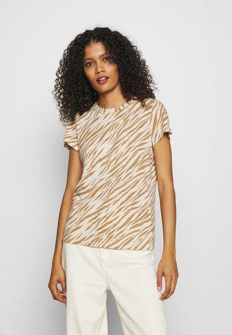 Banana Republic - COZY SLUB CREW - Print T-shirt - beige/light brown