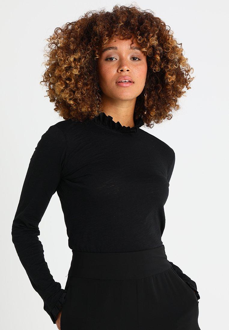 Rich & Royal - SLUB FRILL - Long sleeved top - black