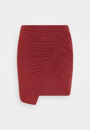 BEAL - Mini skirt - burgundy/silver