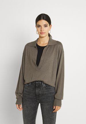 SHEER COLLARED HENLEY - Pullover - brindle