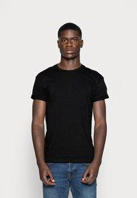 Topman - SKIN SLUB  - T-shirt - bas - black - 0