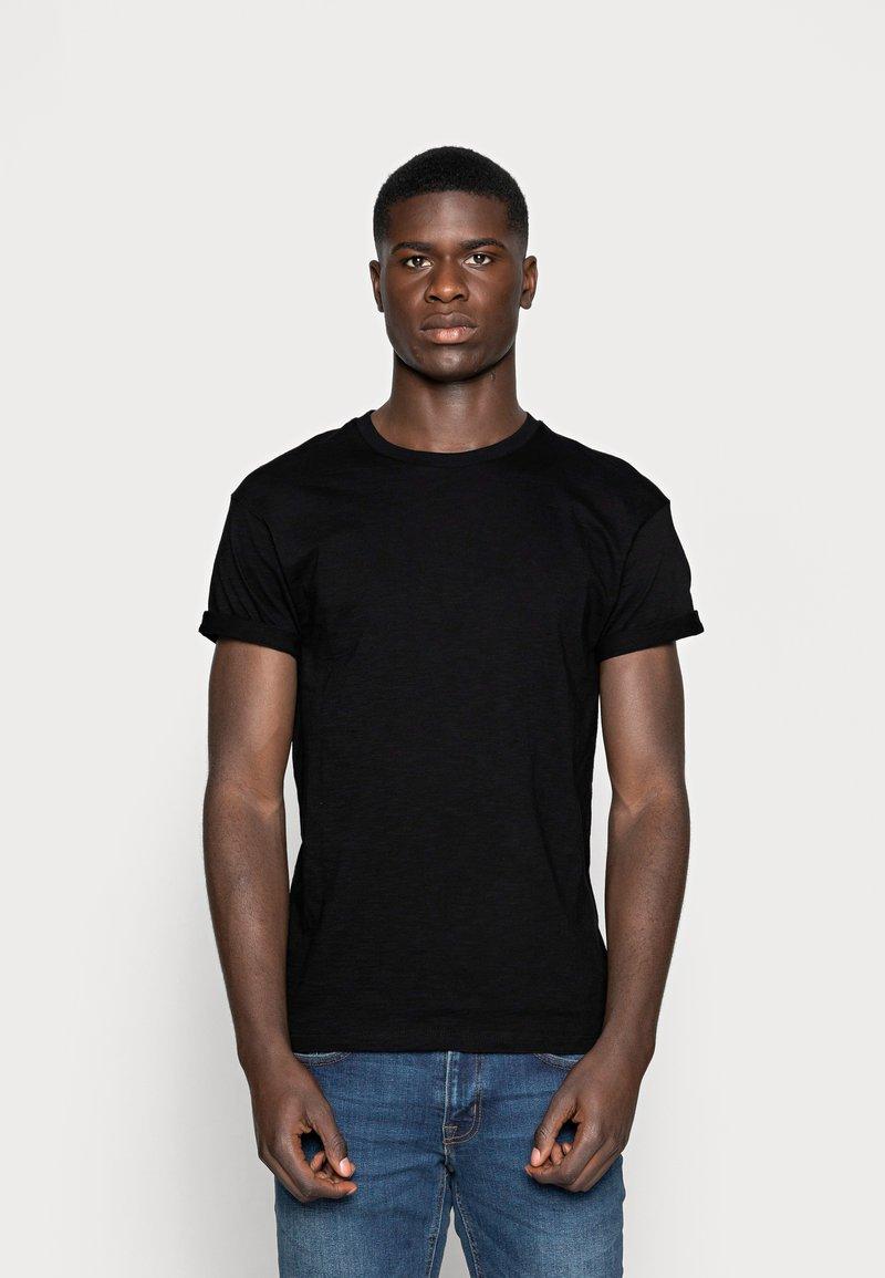 Topman - SKIN SLUB  - T-shirt - bas - black