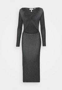 Milk it - LONG SLEEVE PLATED MIDI DRESSW TWIST - Jumper dress - black - 4