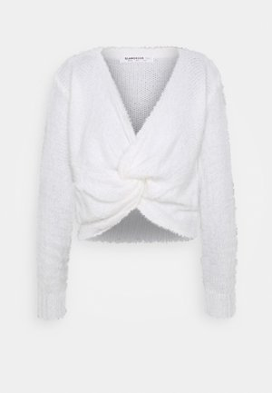 FLUFFY KNOT FRONT CROP JUMPER - Pullover - white