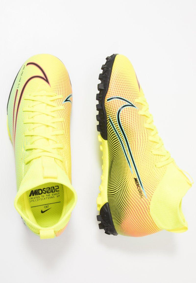 Nike Performance - MERCURIAL JR 7 ACADEMY TF UNISEX - Astro turf trainers - lemon/black/aurora green