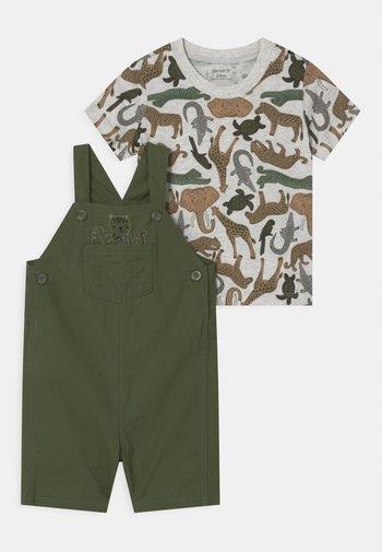 SHORTALL SET - Print T-shirt - khaki