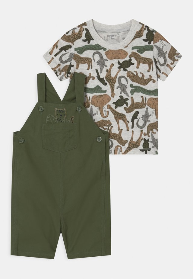 SHORTALL SET - Camiseta estampada - khaki