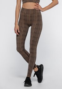 Heart and Soul - HOUNDSTOOTH  - Collant - black/camel - 0
