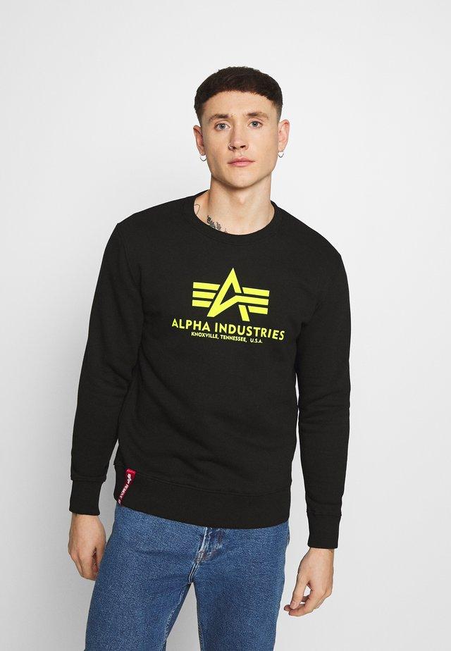 BASIC PRINT - Sweatshirt - black/neon yellow