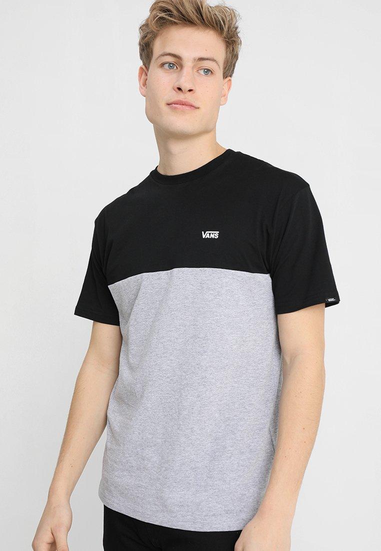 Vans - MN COLORBLOCK TEE - Print T-shirt - black athletic heather
