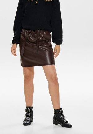 Leather skirt - chocolate plum