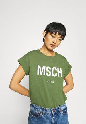 ALVA TEE - Print T-shirt - green/white