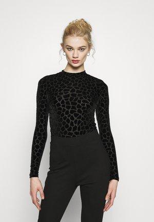 FLOCKED GIRAFFE PRINT BODYSUIT - Long sleeved top - black