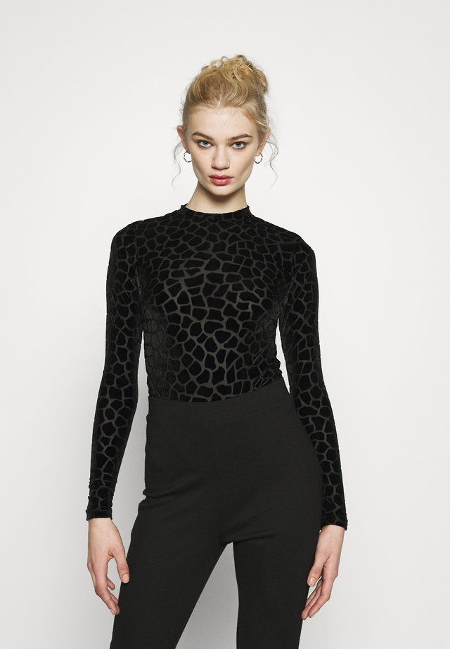 FLOCKED GIRAFFE PRINT BODYSUIT - Long sleeved top - black