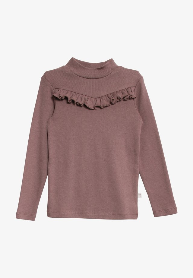 RIB RUFFLE - Long sleeved top - powder plum