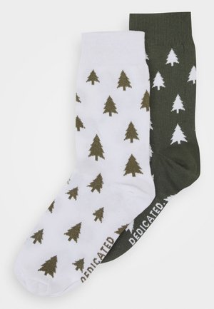 SOCKS SIGTUNA TREES UNISEX 2 PACK - Socks - white/green