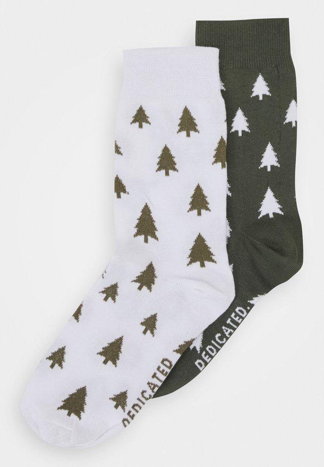 SOCKS SIGTUNA TREES UNISEX 2 PACK - Ponožky - white/green