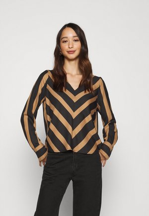 ONLFREDA LIFE NECK - Blouse - toasted coconut/black