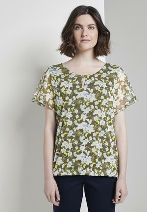 TOM TAILOR T-SHIRT GEMUSTERTES T-SHIRT MIT MESH-OVERLAYER - Blouse - small khaki floral design