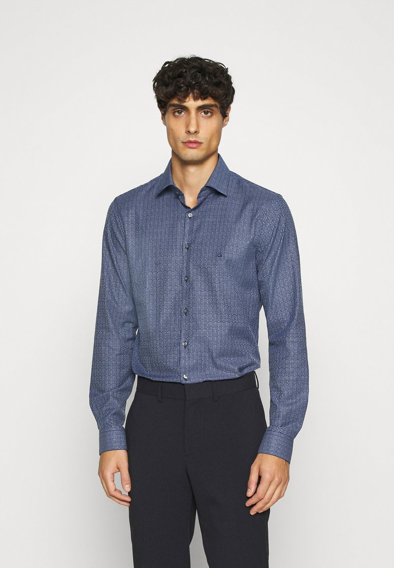 Calvin Klein Tailored - SMALL CHECK EASY CARE SLIM - Formal shirt - blue